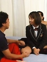 Yuma Nakata Asian gets boobs under vibrator over school uniform