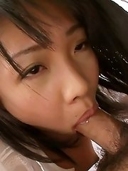 Hikaru Momose Asian with brown nipples swallows boner deep throat