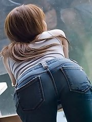 Japanese tramp is hot in her tight blue jeans