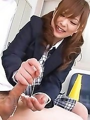 Miku Airi Asian in uniform strokes and sucks cock till gets cum