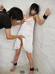 Chika Ishihara Asian tied and with dress ripped has slit licked